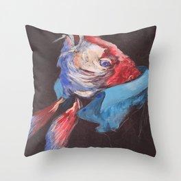 Fish Wearing Linen Throw Pillow