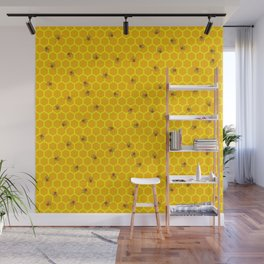Mind Your Own Beeswax / Bright honeycomb and bee pattern Wall Mural