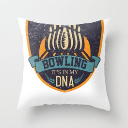 Bowling it's in my DNA Throw Pillow
