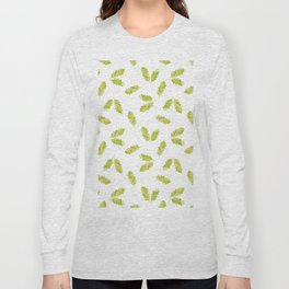 Hand painted green watercolor oak leaves pattern Long Sleeve T-shirt
