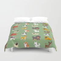 asian Duvet Covers featuring ASIAN DOGS by DoggieDrawings