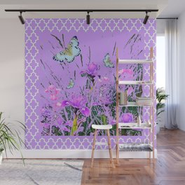 LILAC PURPLE MODERN FLOWERS ABSTRACT Wall Mural