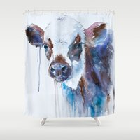 cow Shower Curtains featuring Cow by Slaveika Aladjova