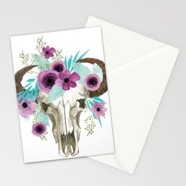 This boho bull skull, features a crown of bright flowers! Stationery Cards