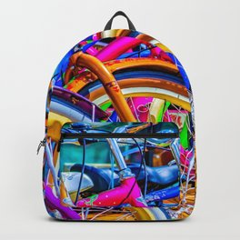 Colorful bicycles in a row Backpack