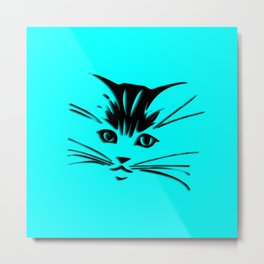Aqua Kitty Cat Face Metal Print