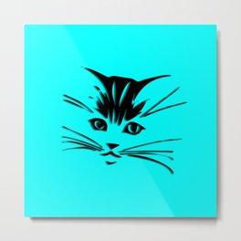 Aqua Kitty Cat Face Metal Print