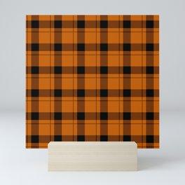Orange and Black Gingham Traditional Plaid Mini Art Print