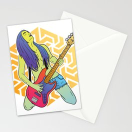 Woman with bass guitar Stationery Cards