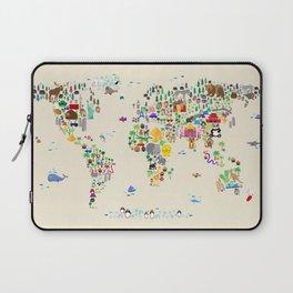 Animal Map of the World Laptop Sleeve