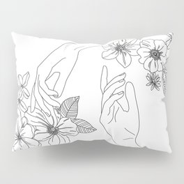 Hands and flowers line drawing illustration - Isabel Pillow Sham