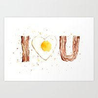 bacon Art Prints featuring Bacon by Olechka