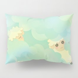 Heavenly Baby Sheep I - Mint Green, Baby Blue Colors Sky Background Pillow Sham