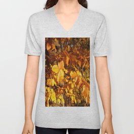Golden Autumn Fall Leaves Unisex V-Neck