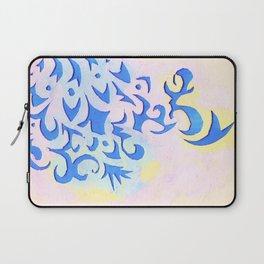 Cornflower Blue Damask Pattern Laptop Sleeve