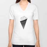 french fries V-neck T-shirts featuring French Fries frites by Keep It Simple