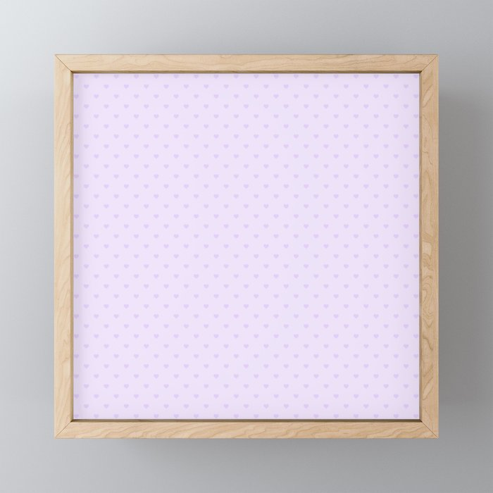 Chalky Pale Lilac Pastel Love Hearts on White Framed Mini Art Print