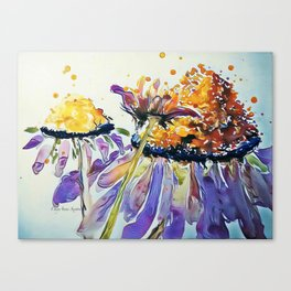 Poppin Purple Echinacea watercolor by CheyAnne Sexton Canvas Print