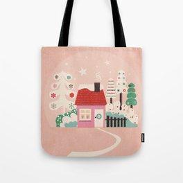 Festive Winter Hut in pink Tote Bag