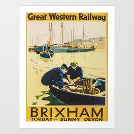 retro Brixham retro poster Art Print