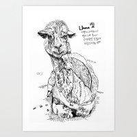 llama Art Prints featuring Llama by ARI(Sunha Jung)