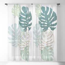 Tropical minimal / green, turquoise and gold monstera Sheer Curtain