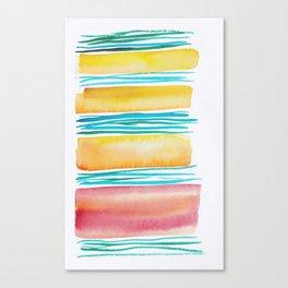 12   |181026 Lines & Color Block | Watercolor Abstract | Modern Watercolor Art Canvas Print