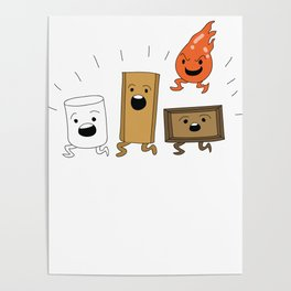 Camping Gift Funny Campfire Marshmallow Smores Camper Poster