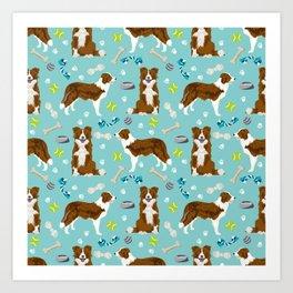 Border Collie Dog Toys - red border collie dog, border collie blanket, border collie bedding, cute d Art Print