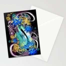Surf Board tat - Double - Black  Stationery Cards