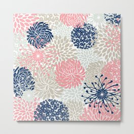 Floral Mixed Blooms, Blush Pink, Navy Blue, Gray, Beige Metal Print