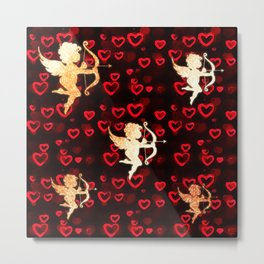 Cupids and Hearts Metal Print
