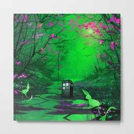 Tardis Stay Lost In The Forest Metal Print