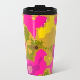 psychedelic geometric painting texture abstract in pink yellow brown blue Travel Mug