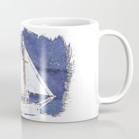 sailboat Mugs featuring Sailboat by Michael P. Moriarty