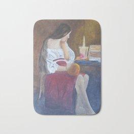 Girl at candle light Bath Mat