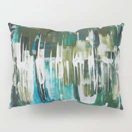 Acrylic Blue, Green and Gold Abstract Painting Pillow Sham