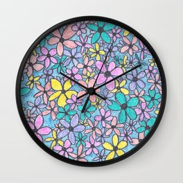 Flower Pattern in colour Wall Clock