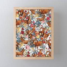 Capra Cylindricornis and Floral Pattern Framed Mini Art Print