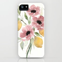 Watercolor-poppies-and-lemons iPhone Case