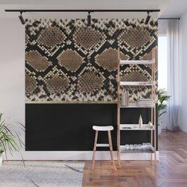 Modern black brown gold snake skin animal print Wall Mural