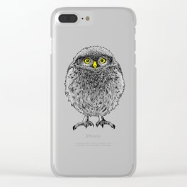 Fluffy cute baby owl Clear iPhone Case