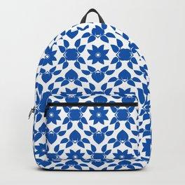 Blue & White Flower Pattern Backpack