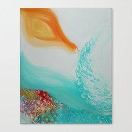 """Cristalda e Pizzomunno"" Original oil finger painting by Monika Toth Canvas Print"