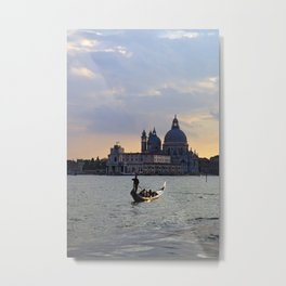 Venetian gondola at sunset Metal Print