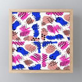 Pink Blue Coral Retro 80's 90's Doodle Framed Mini Art Print