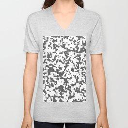 Spots - White and Dark Gray Unisex V-Neck