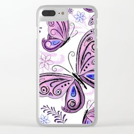 Colorful Butterflies and Flowers V12 Clear iPhone Case