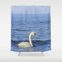 swan Shower Curtains featuring Swan by Susann Mielke