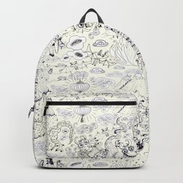 Chinoiserie pattern with dragons, bats, pagodas Backpack